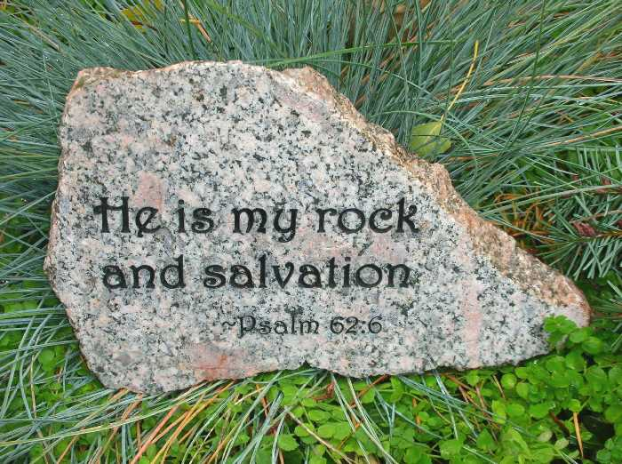Landscape Rock With Engraving : Medium engraved granite stone bible quote rock